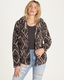 4 Over Head Fleece Jacket Black J616LOVE Billabong
