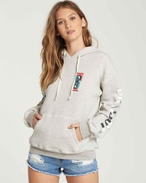 0 Retro Logo Fleece Hoodie Grey J651QBRE Billabong