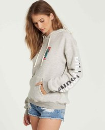 1 Retro Logo Fleece Hoodie Grey J651QBRE Billabong