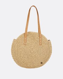 1 Round About Straw Tote Bag Beige JABGPBRO Billabong