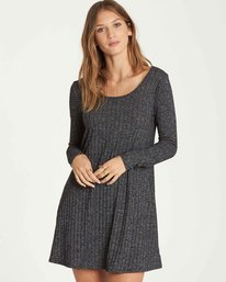 0 Heart To Heart Long Sleeve Dress Grey JD16QBHE Billabong