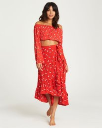 0 Dancing Til Dawn Wrap Skirt Red JK04LDAN Billabong