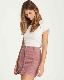 1 Push My Buttons Cord Mini Skirt Purple JK10QBPU Billabong