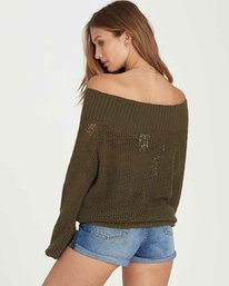 1 Rolled Up Off-The-Shoulder Sweater Green JV12QBRO Billabong