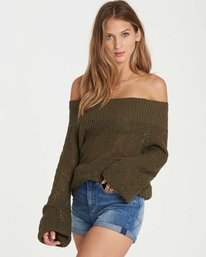 2 Rolled Up Off-The-Shoulder Sweater Green JV12QBRO Billabong