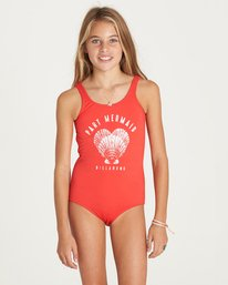 0 Girls' Sol Searcher One Piece Swimsuit Red Y107LSOL Billabong