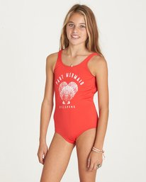 1 Girls' Sol Searcher One Piece Swimsuit Red Y107LSOL Billabong