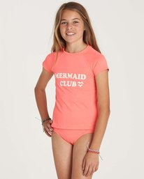 1 Girls' Stay Salty Short Sleeve Rashguard Pink YR01NBSO Billabong