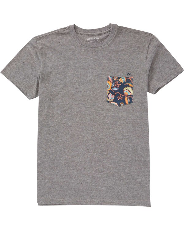 0 Boys' Team Pocket Tee Grey B433TBTP Billabong