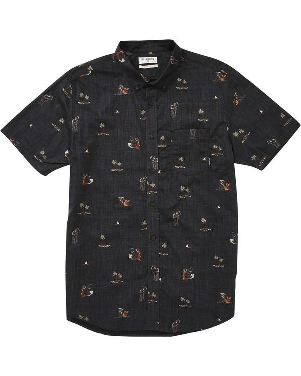 0 Boys' Sundays Floral Short Sleeve Shirt Black B504TBSF Billabong