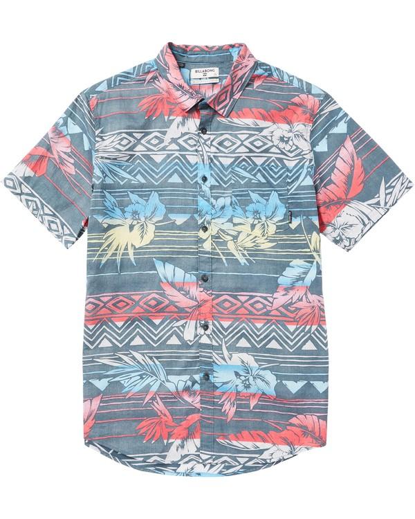 0 Boys' Sundays Floral Printed Short Sleeve Shirt Grey B506SBSF Billabong
