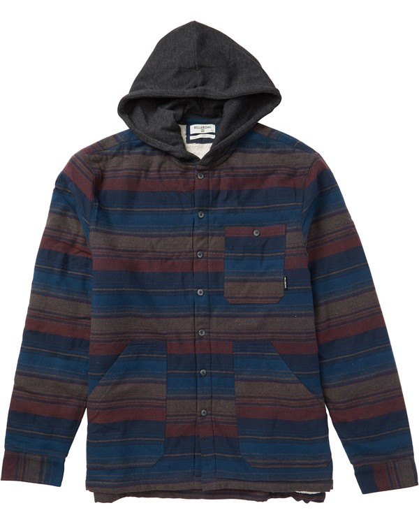 0 Boys' Baja Sherpa Hooded Flannel Shirt Blue B525SBBA Billabong