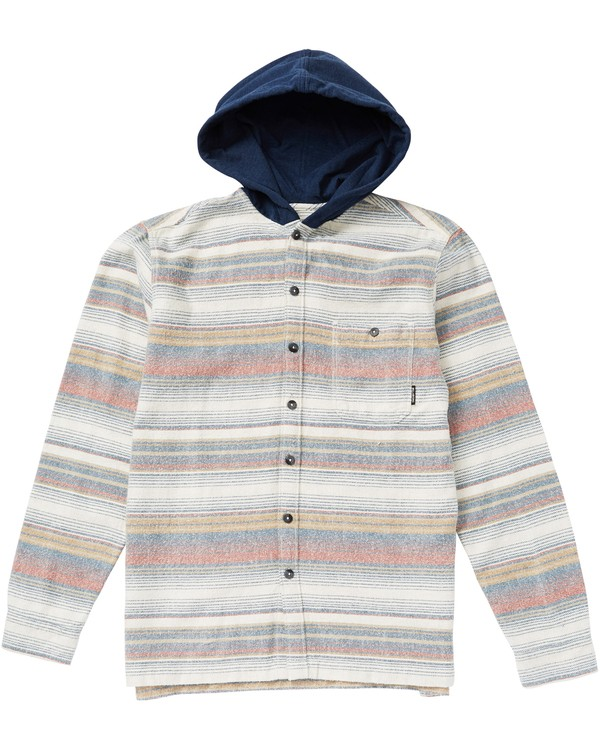 0 Boys' Baja Flannel Hooded Flannel Shirt Grey B526SBBF Billabong