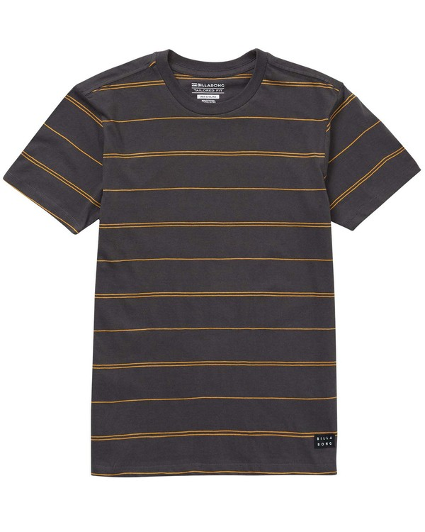 0 Boys' Die Cut Stripe Crew Tee Black B905NBDI Billabong