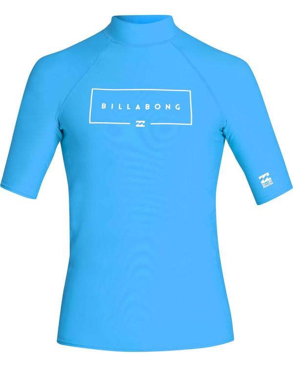 0 Boys' Union Performance Fit Short Sleeve Rashguard Blue BR11TBUN Billabong