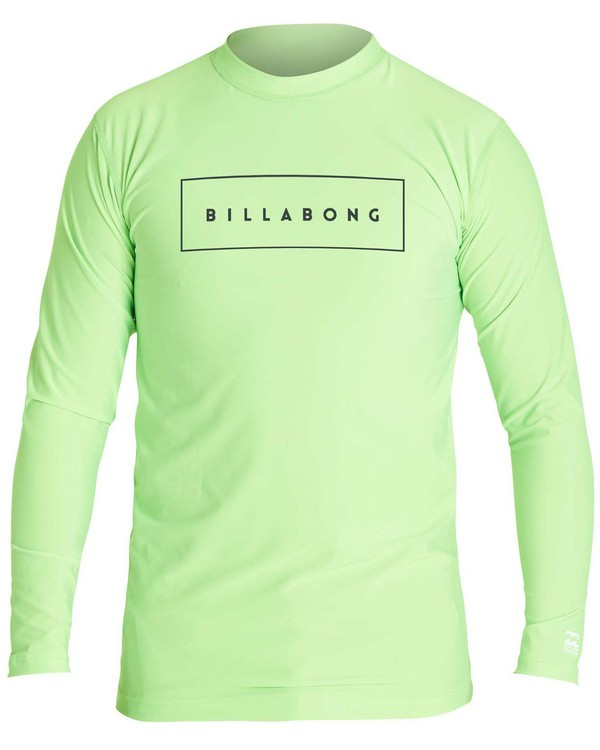 0 Boys' All Day United Performance Fit Long Sleeve Rashguard Green BR64NBAU Billabong