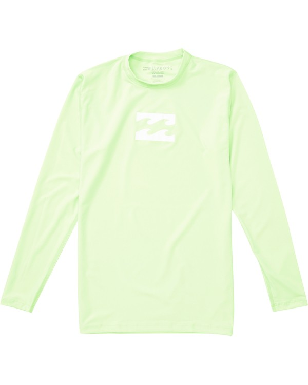 0 Boys' All Day Wave Loose Fit Long Sleeve Rashguard Green BWLYJCHL Billabong