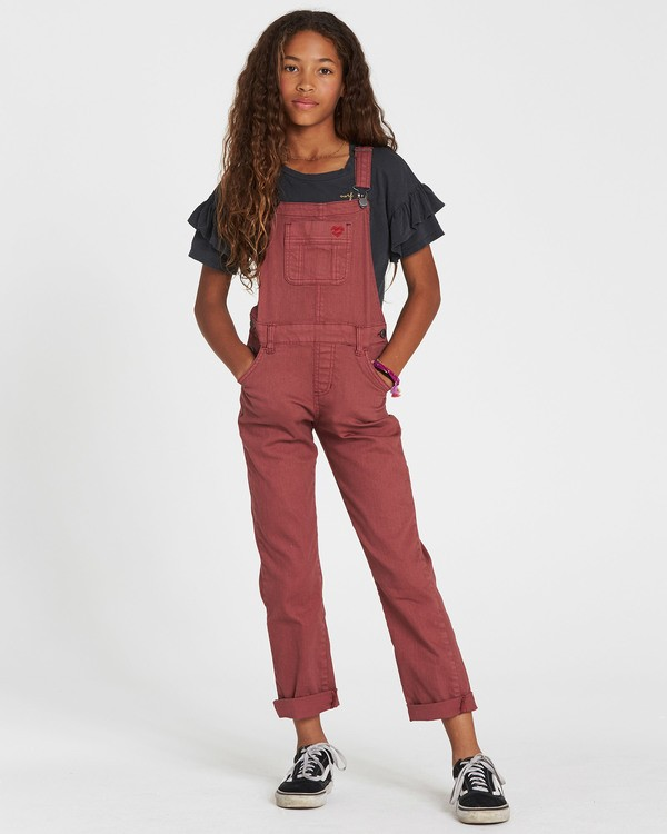 0 Girls' Follow Me Denim Overall Purple G305QBFO Billabong