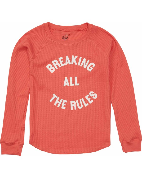 0 Girls' Rule Breaker Long Sleeve Tee Orange G413MRUL Billabong