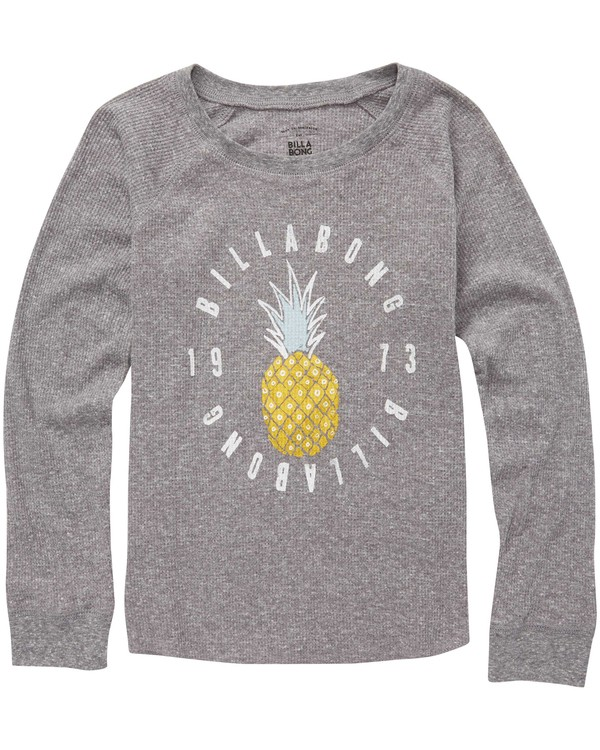 0 Girls' Pineapple Dream Thermal Long Sleeve Tee Grey G413QBPI Billabong