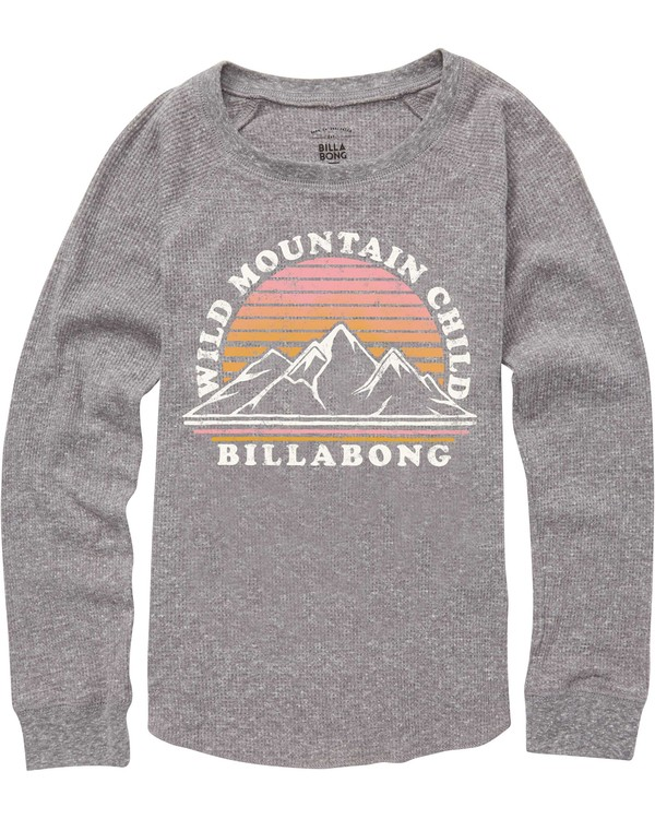0 Girls' Wild Mountain Thermal Long Sleeve Tee Grey G413QBWI Billabong