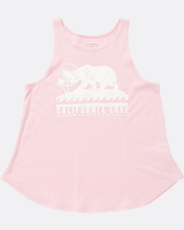 0 Girls' Cali Bear Love Tank Pink G414SBCA Billabong