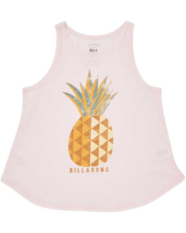 0 Girls' Sunny Pineapple Tank Top Pink G414TBSU Billabong