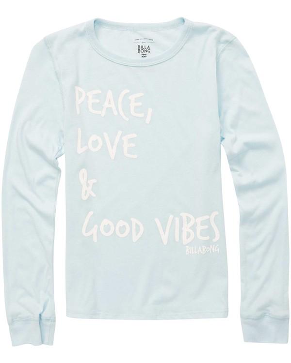 0 Girls' Peace & Love Long Sleeve Tee Blue G420QBPE Billabong