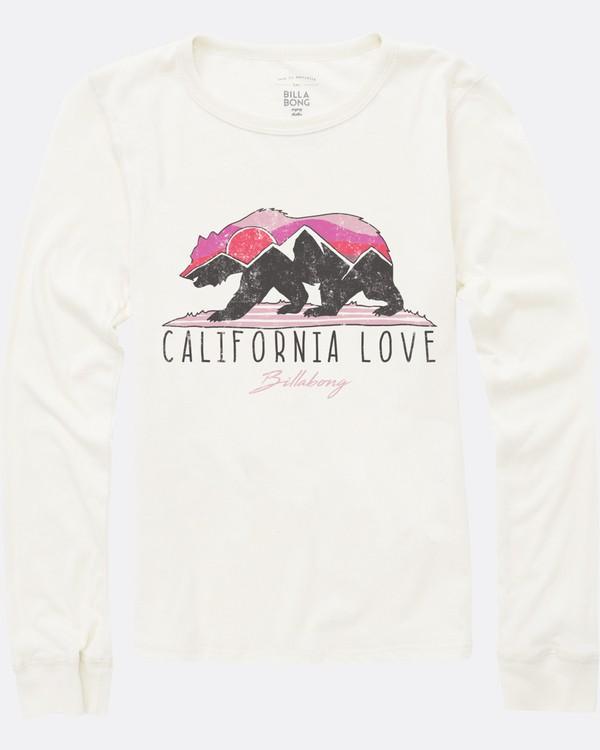 0 Girls' Mountain Cali Bear Long Sleeve Tee White G420SBMO Billabong