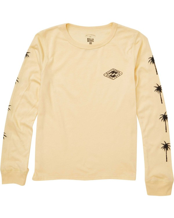0 Girls' Stay Wild Long Sleeve Tee Yellow G420TBST Billabong