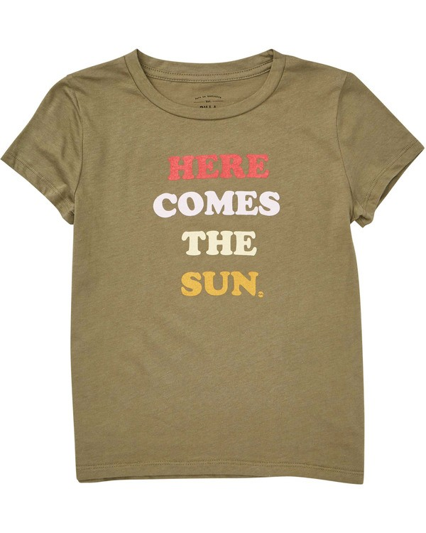 0 Girls' Here Comes The Sun Tee Green G424TBHE Billabong