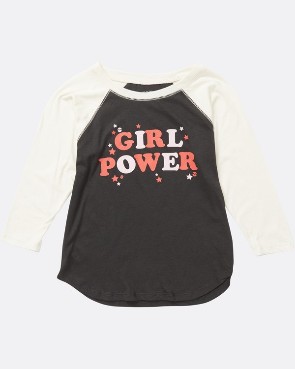 0 Girls' Girl Power Raglan Sleeve Tee Black G486SBGI Billabong