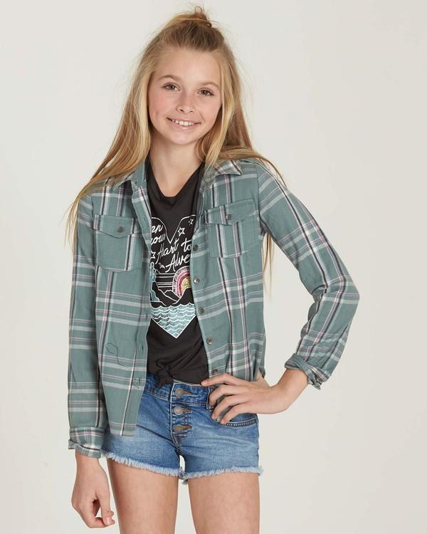 0 Girls' Cozy Up Flannel Shirt Beige G502MCOZ Billabong