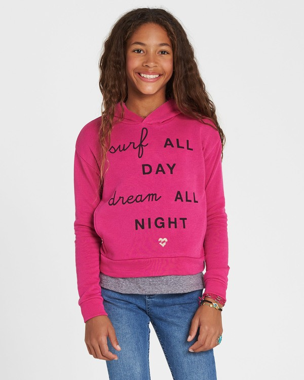 0 Girls' Go Saturday Hooded Fleece Pink G604SBGO Billabong