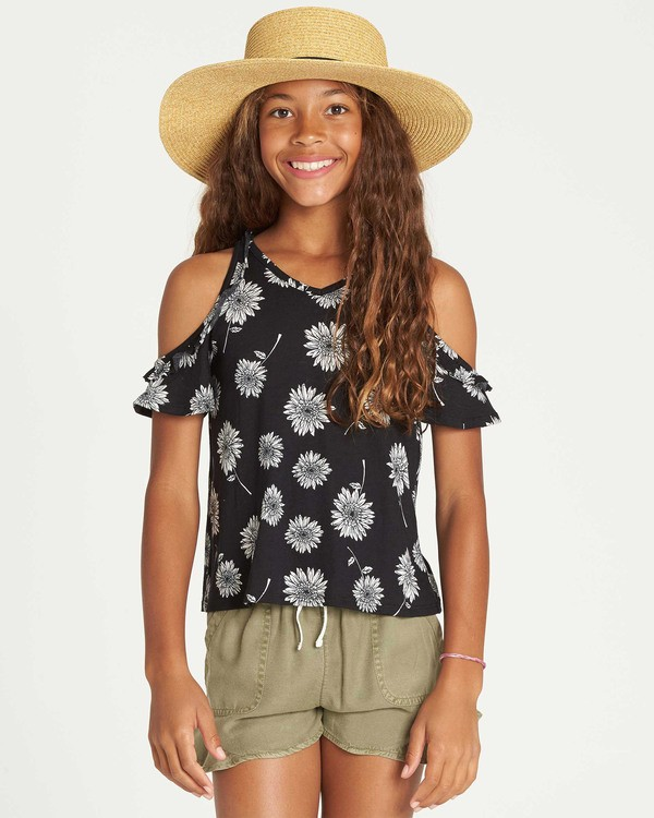 0 Girls' Finding Flowers Knit Top Black G904TBFI Billabong