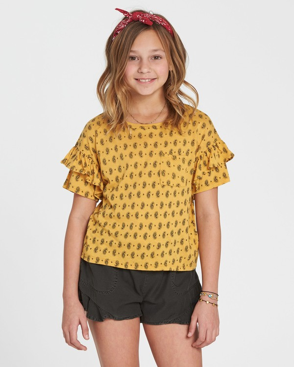 0 Girls' Tee Time Printed Top Yellow G905SBTE Billabong