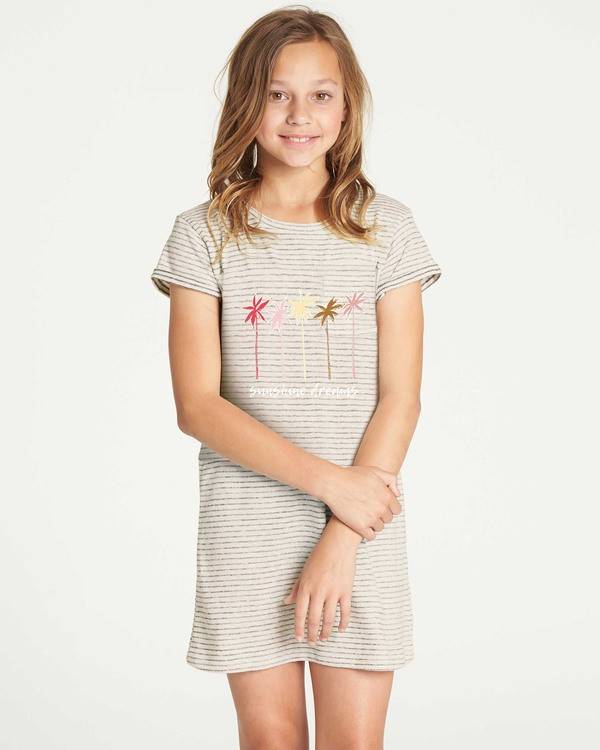 0 Girls' Mixed Lines Tee Dress White GD03TBMI Billabong
