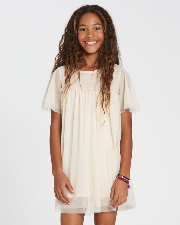 0 Girls' In The Air Tulle Mesh Dress White GD05SBIN Billabong