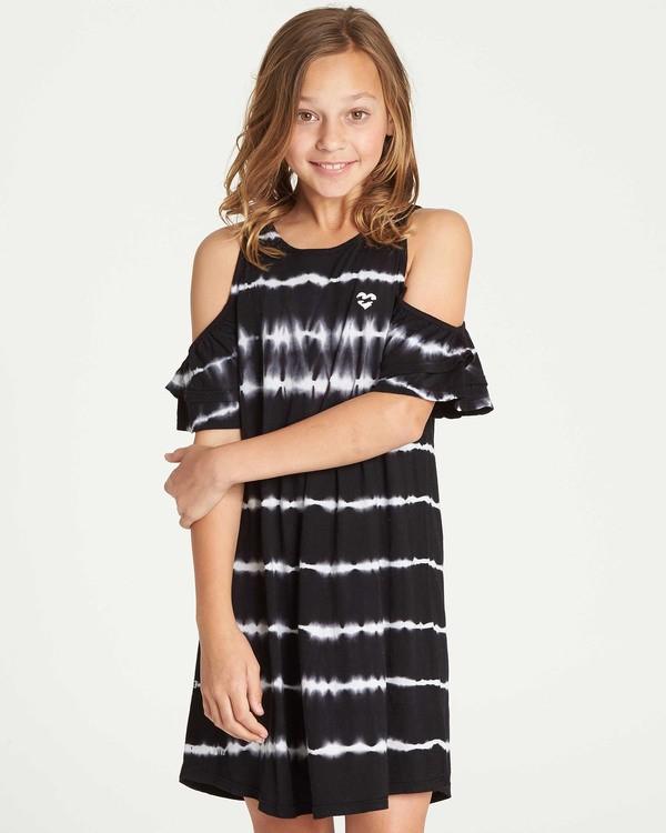 0 Girls' Chasing Waves Tie-Dye Dress Black GD06TBCH Billabong