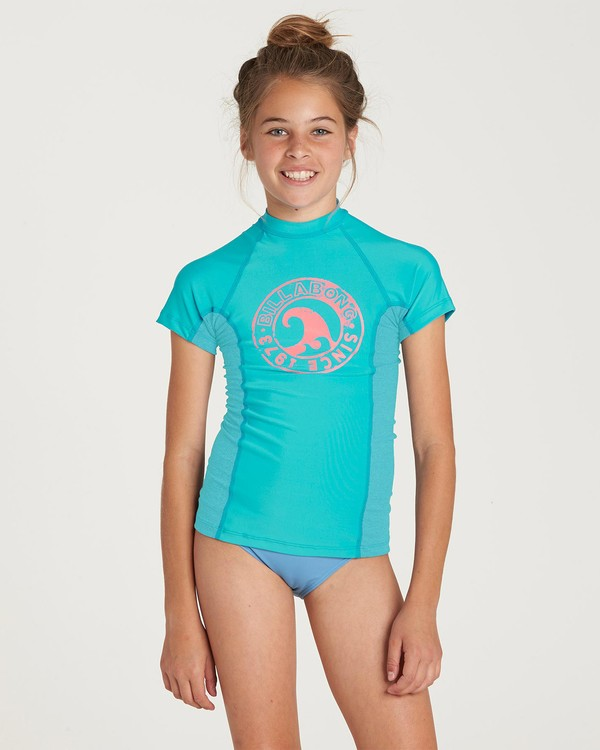 0 Girls' Surf Dayz Performance Short Sleeve Rashguard Green GR02NBSD Billabong