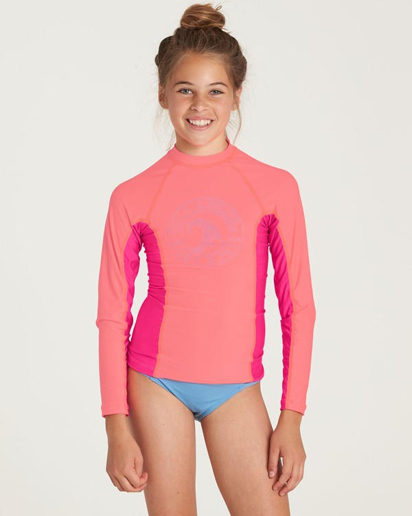 0 Girls' Surf Dayz Performance Long Sleeve Rashguard Pink GR52NBSD Billabong