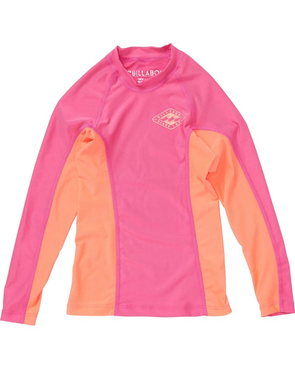 0 Girls' Surf Dayz Performance Fit Long Sleeve Rashguard Pink GWLYJSCL Billabong