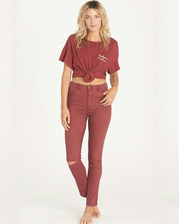 0 Bestie Denim Pant Red J317LBES Billabong