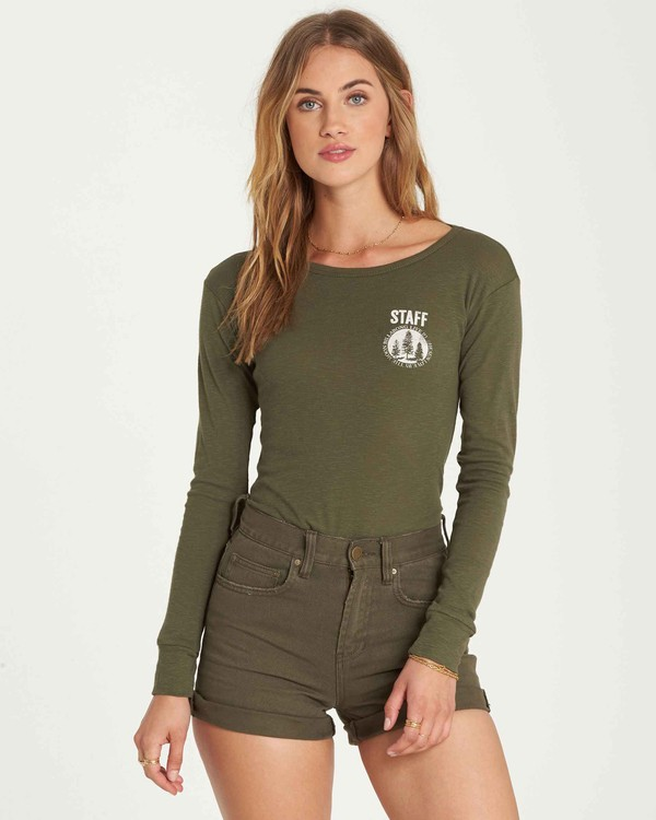 0 Staff Only Long Sleeve Tee Green J424QBST Billabong