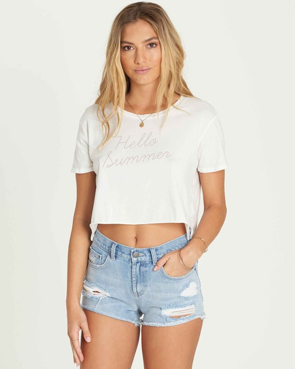 0 Hello Summer Crop Tee Beige J436PBHE Billabong