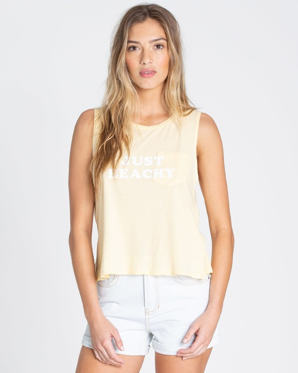 0 Just Beachy Muscle Tee Yellow J442TBJU Billabong