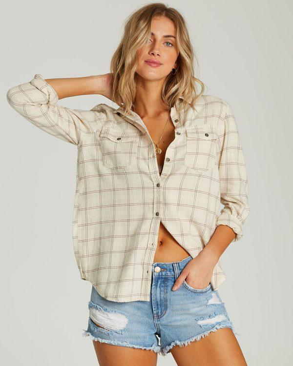 0 Venture Out Long Sleeve Flannel Shirt White J507MVEN Billabong