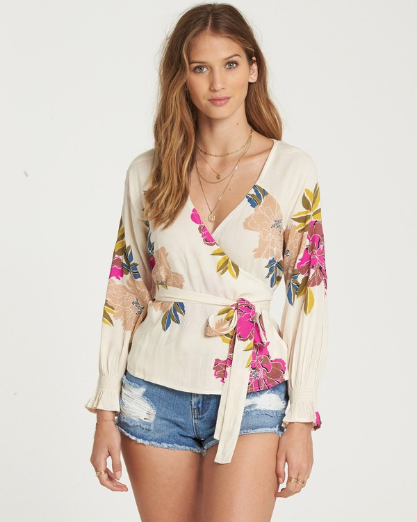 0 Daisy Wrap Top Beige J513QBDA Billabong