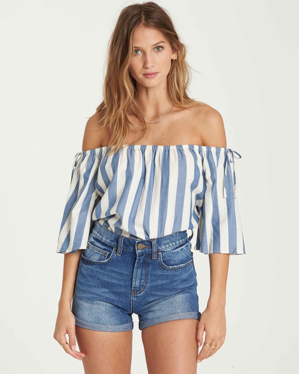 0 Match Up Off-The-Shoulder Top Blue J528QBMA Billabong