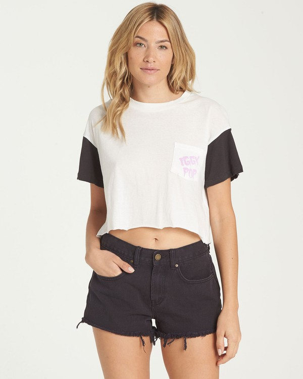 0 Women's Iggy Pop Iggy Crop Tee Beige J934NBIG Billabong